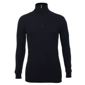Unisex Long Sleeve Half Zip Front - Black