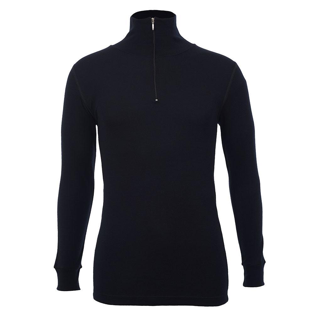 Merino Skins - Half Zip Long Sleeve Top - Wool Interlock - Black
