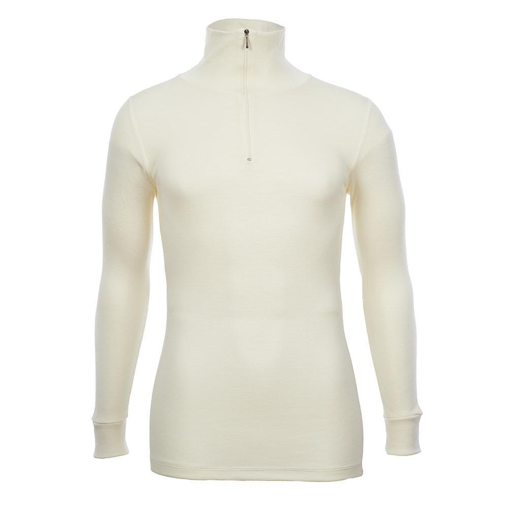 Merino Skins - Half Zip Long Sleeve Top - Wool Interlock - Natural