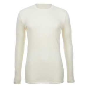 Crew Neck Long Sleeve Top - Slim Fit - Wool Interlock - Natural