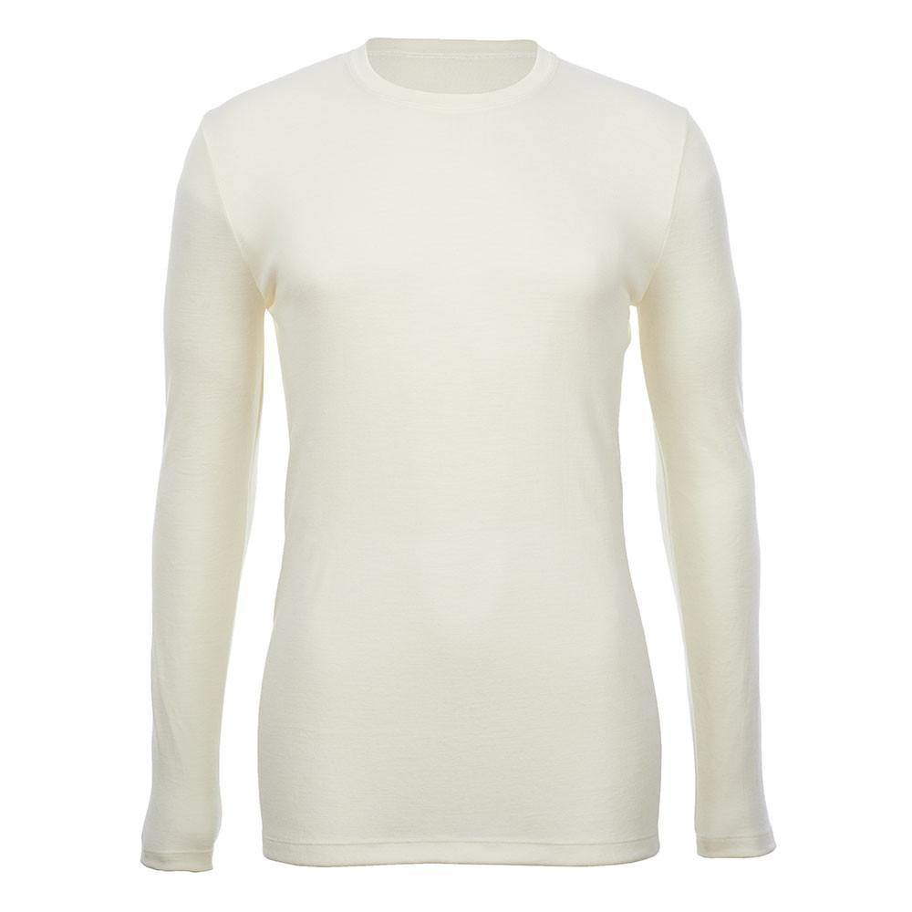 Crew Neck Long Sleeve Top - Slim Fit - Wool Interlock - Natural