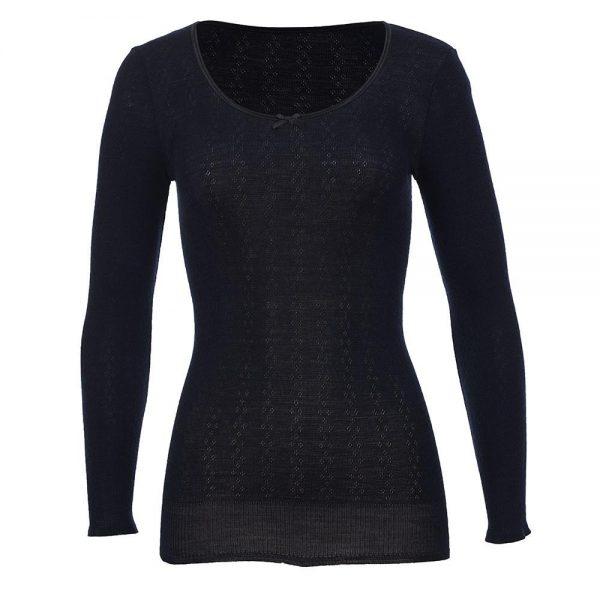 Satin Round Neck Long Sleeve Top - Wool Pointelle - Black