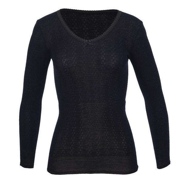 V Neck Long Sleeve Top - Wool Pointelle - Black