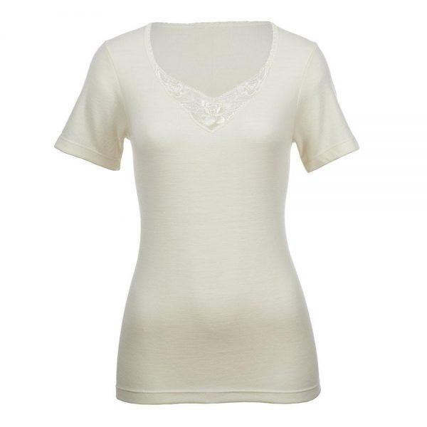 Short Sleeve Motif Top - Natural