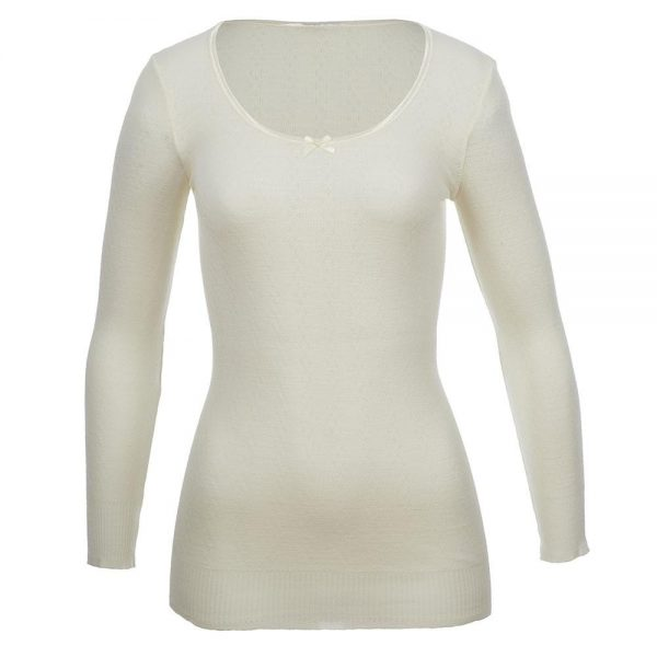 Thermo Fleece Merino RTRLS Satin Neck WHITE
