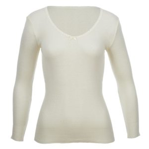 Thermo Fleece Merino RTRLV V Neck White
