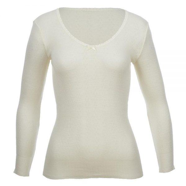 Thermo Fleece Merino RTRLV V Neck White