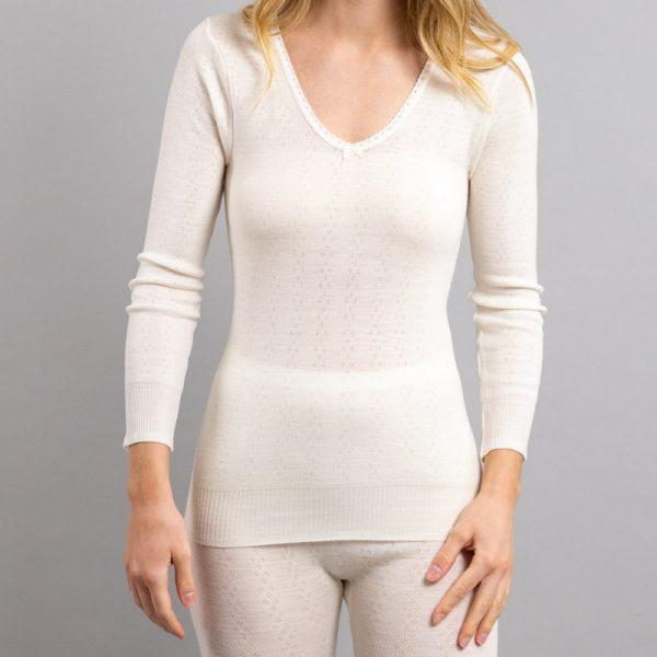 Front view of white Thermo Fleece – Ladies Long Sleeve Lace V Neck – 100% Merino Wool