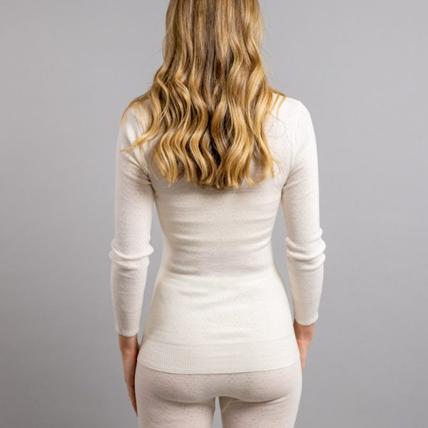 Rearview of white Thermo Fleece – Ladies Long Sleeve Lace V Neck – 100% Merino Wool