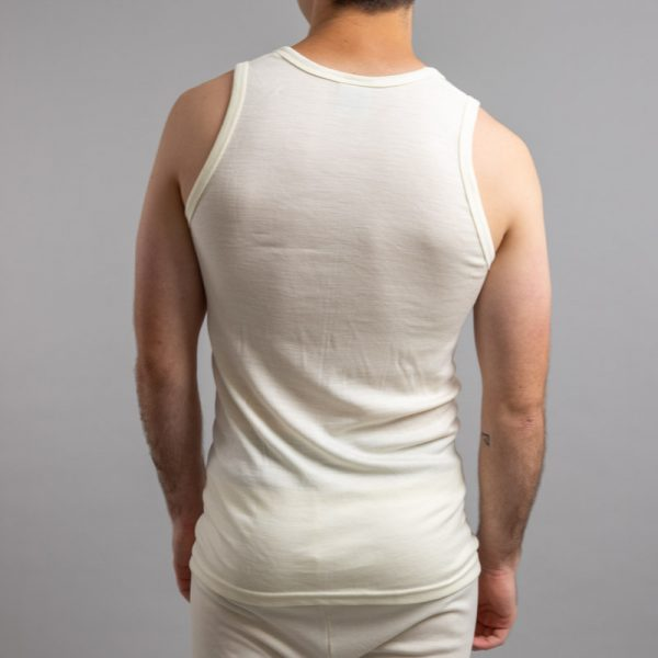 Rear view of white Thermo Fleece – Men's Sleeveless Athletic – 100% Merino Wool