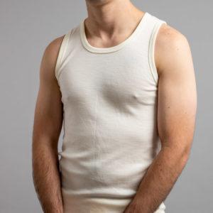 Front view of white Thermo Fleece – Men's Sleeveless Athletic – 100% Merino Wool