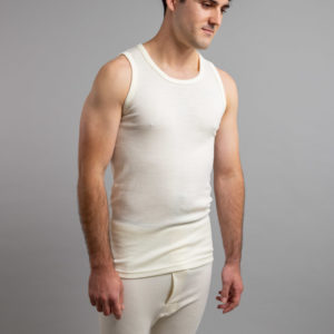 Side view of white Thermo Fleece – Men's Sleeveless Athletic – 100% Merino Wool