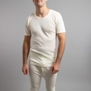 Front view of white Thermo Fleece – Men's Short Sleeve Top – 100% Merino Wool