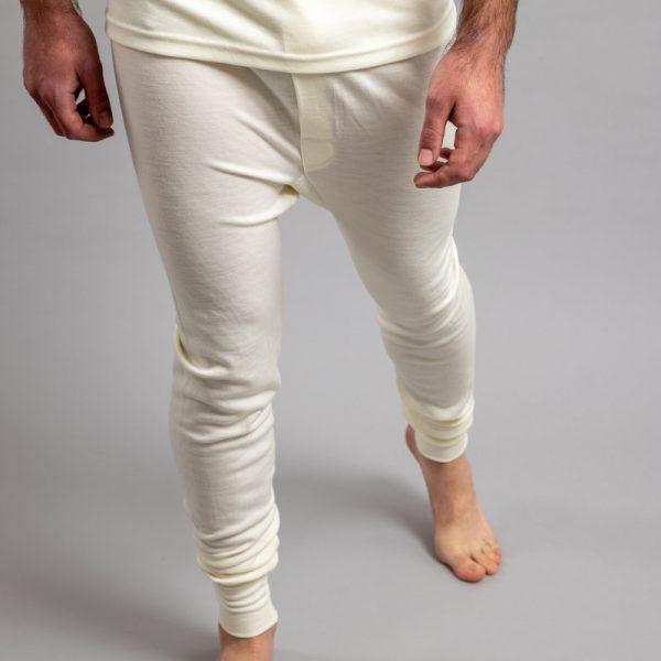 Front view of white Thermo Fleece – Men's Long John – 100% Merino