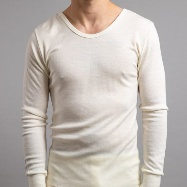 Front view of white Thermo Fleece – Men's Long Sleeve Top – 100% Merino Wool
