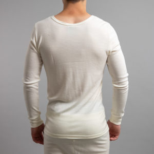 Rearview of white Thermo Fleece – Men's Long Sleeve Top – 100% Merino Wool