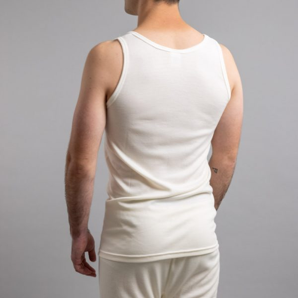 Rear view of white Thermo Fleece – Men's Sleeveless Athletic – Rich Merino Blend