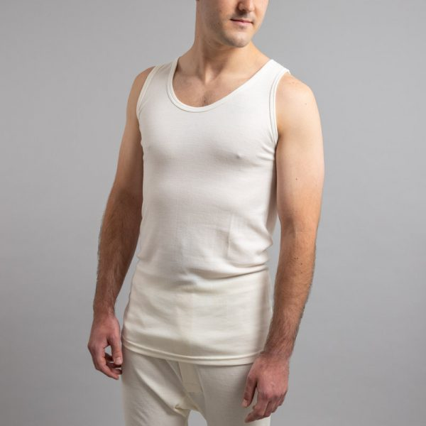 Front view of white Thermo Fleece – Men's Sleeveless Athletic – Rich Merino Blend