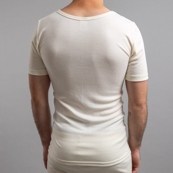 Rear view of white Thermo Fleece – Men's Short Sleeve Top – Rich Merino Blend
