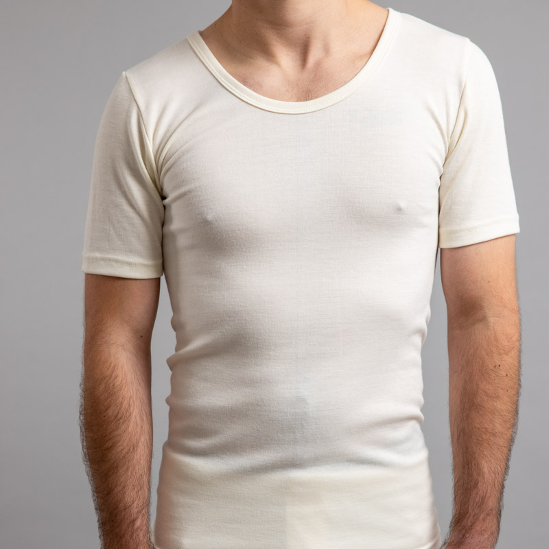 Front view of white Thermo Fleece – Men's Short Sleeve Top – Rich Merino Blend