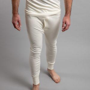 Front view of white Thermo Fleece – Men's Long John – Rich Merino Blend