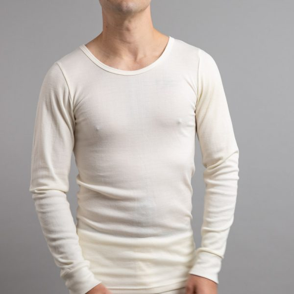 Front view of white Thermo Fleece – Men's Long Sleeve Top - Rich Merino Blend