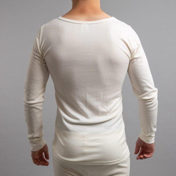 Rear view of white Thermo Fleece – Men's Long Sleeve Top - Rich Merino Blend