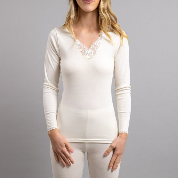 Front view of white Thermo Fleece – Ladies Long Sleeve – Lace Motif – Rich Merino