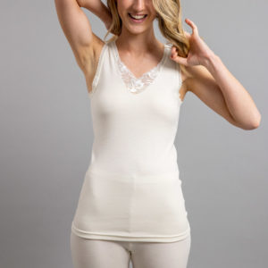 Front view of Thermo Fleece – Ladies Sleeveless Vest - Lace Motif - Rich Merino