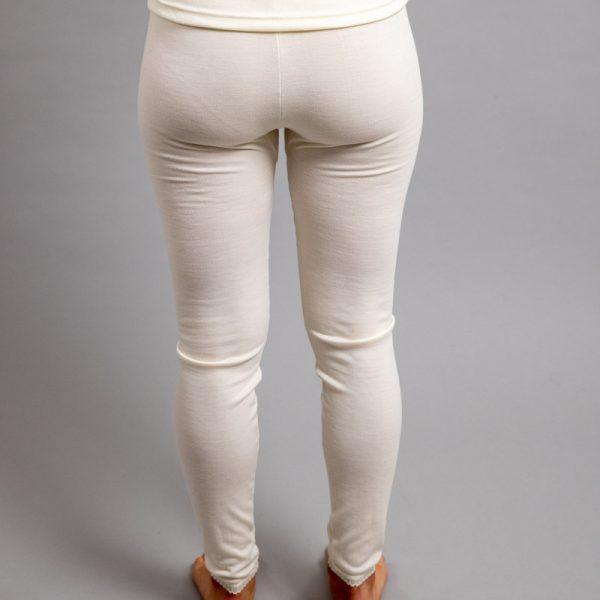 Rearview of white Thermo Fleece – Ladies Long John - Rich Merino