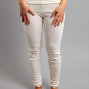 Front view of white Thermo Fleece – Ladies Long John - Rich Merino