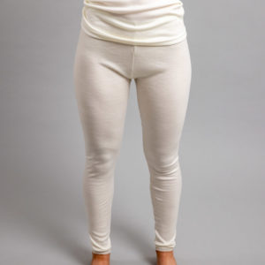Front view of white Thermo Fleece – Ladies Long John - 100% Merino Wool