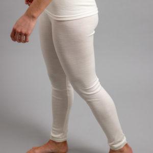 Side view of white Thermo Fleece – Ladies Long John - 100% Merino Wool