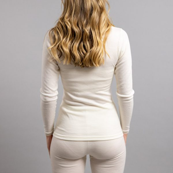 Rearview of white Thermo Fleece – Ladies Long Sleeve – Lace Motif