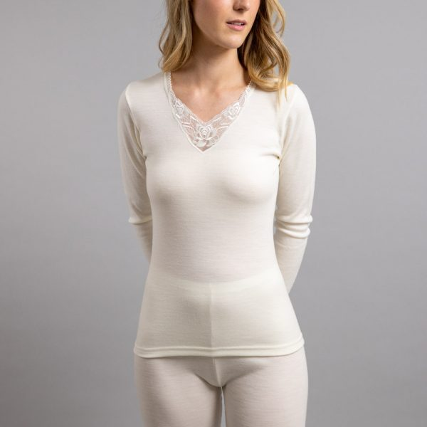 Front view of white Thermo Fleece – Ladies Long Sleeve – Lace Motif