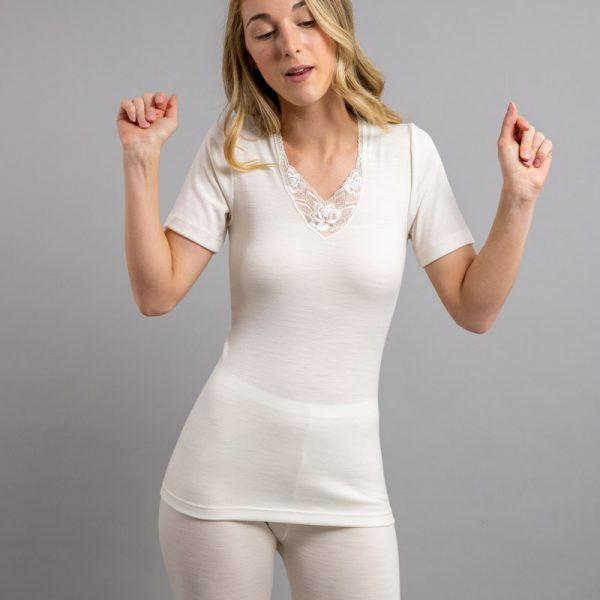 Front view of white Thermo Fleece – Ladies Short Sleeve – Lace Motif