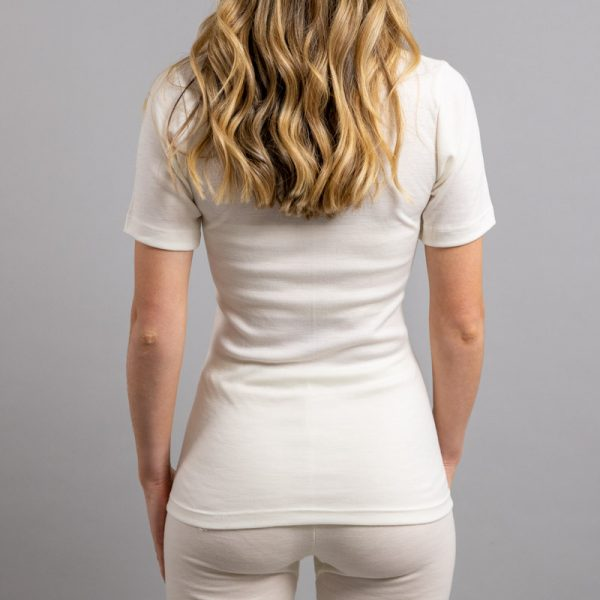 Rearview of white Thermo Fleece – Ladies Short Sleeve – Lace Motif
