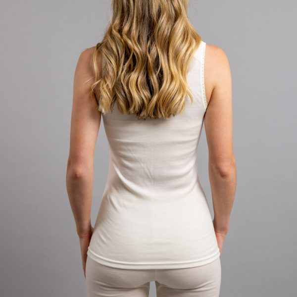Rearview of white Thermo Fleece – Ladies Sleeveless Vest – Lace Motif
