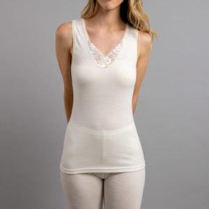 Front view of white Thermo Fleece – Ladies Sleeveless Vest – Lace Motif