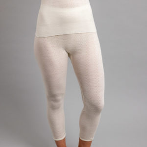 Front view of white Thermo Fleece – Ladies Long John – Rib Pointelle – 100% Merino Wool