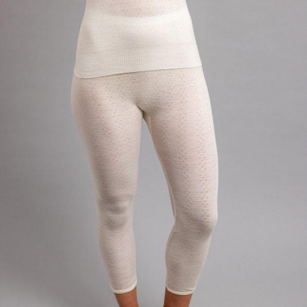 Front view of white Thermo Fleece – Ladies Long John – Rib Pointelle – 100% Merino Wool