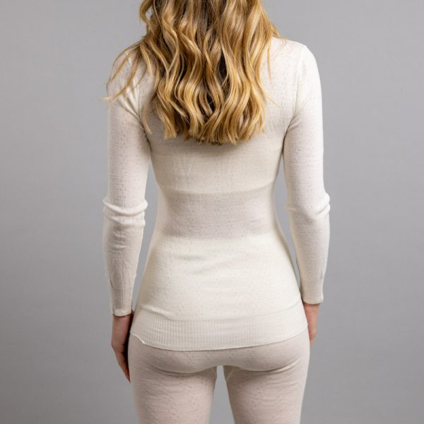 Rearview of white Thermo Fleece – Ladies Long Sleeve Satin Bound Neck – 100% Merino Wool
