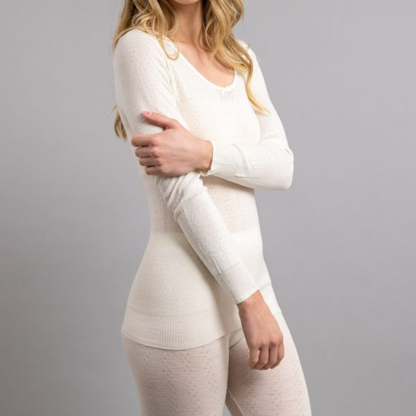 Side view of white Thermo Fleece – Ladies Long Sleeve Satin Bound Neck – 100% Merino Wool