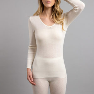 Front view of white Thermo Fleece – Ladies Long Sleeve Satin Bound Neck – 100% Merino Wool