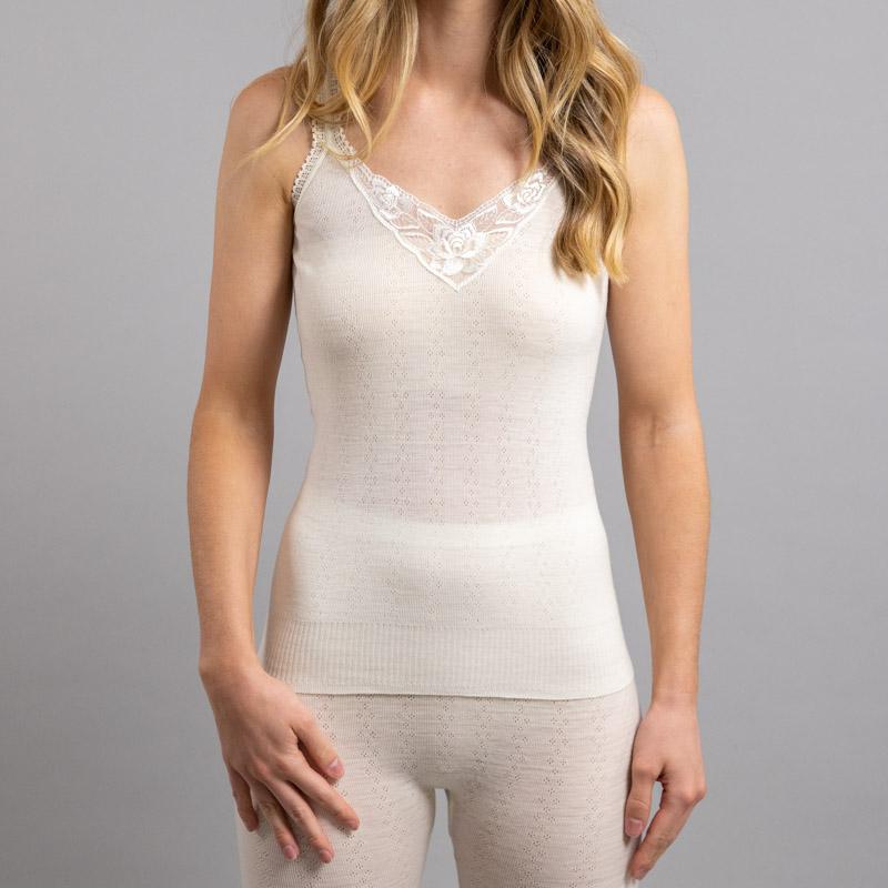 Front view of white Thermo Fleece – Ladies Strap Vest – 100% Merino Wool - White