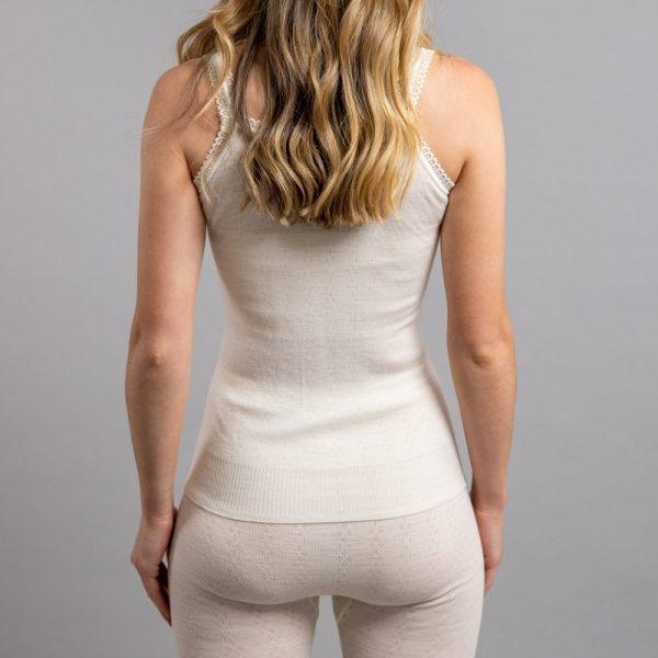 Rearview of white Thermo Fleece – Ladies Strap Vest – 100% Merino Wool - White