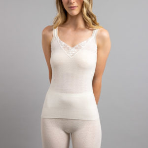 Front view of white Thermo Fleece – Ladies Strap Vest – 100% Merino Wool - White