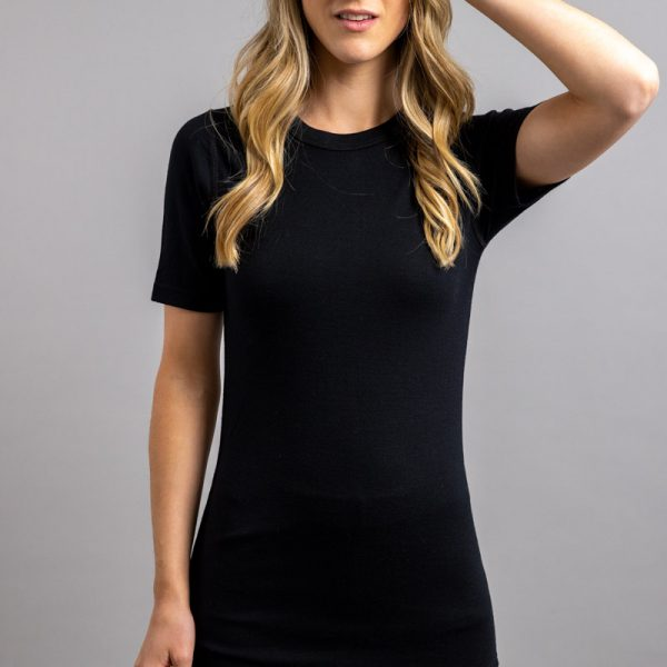 Front view of a female wearing black Merino Skins – Unisex Short Sleeve Crew Neck