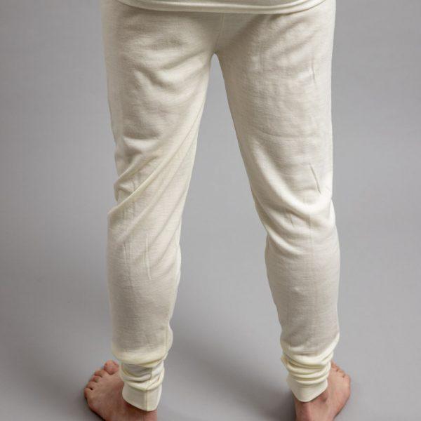 Rearview of a male wearing white Merino Skins - Unisex Long John / Pant