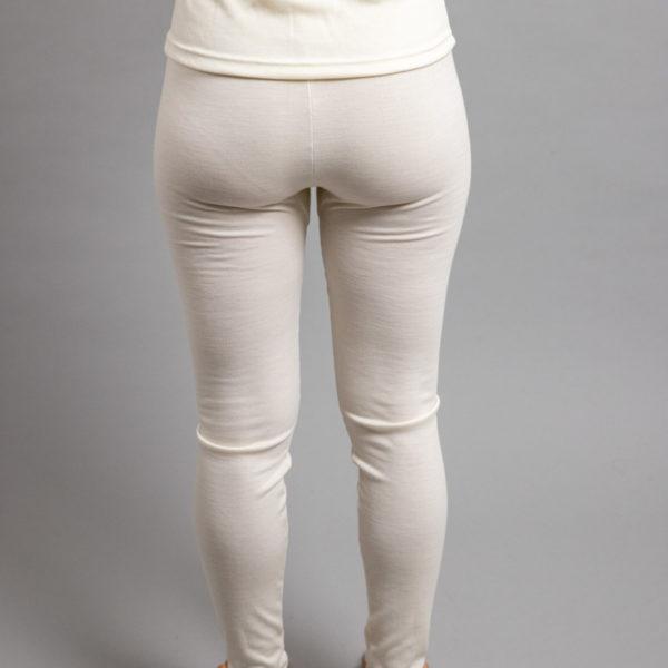 Rearview of a female wearing white Merino Skins - Unisex Long John / Pant
